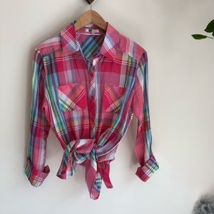 Kut from the Kloth pink plaid button down❤️